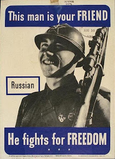 "Poster: ""This man is your friend -- Russian -- He fights for freedom."""