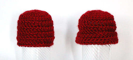 Two Red Crochet Preemie Hats