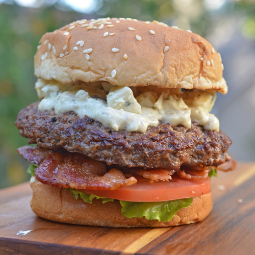 Gorgonzola & Bacon Burger featuring fresh ground chuck from Food City