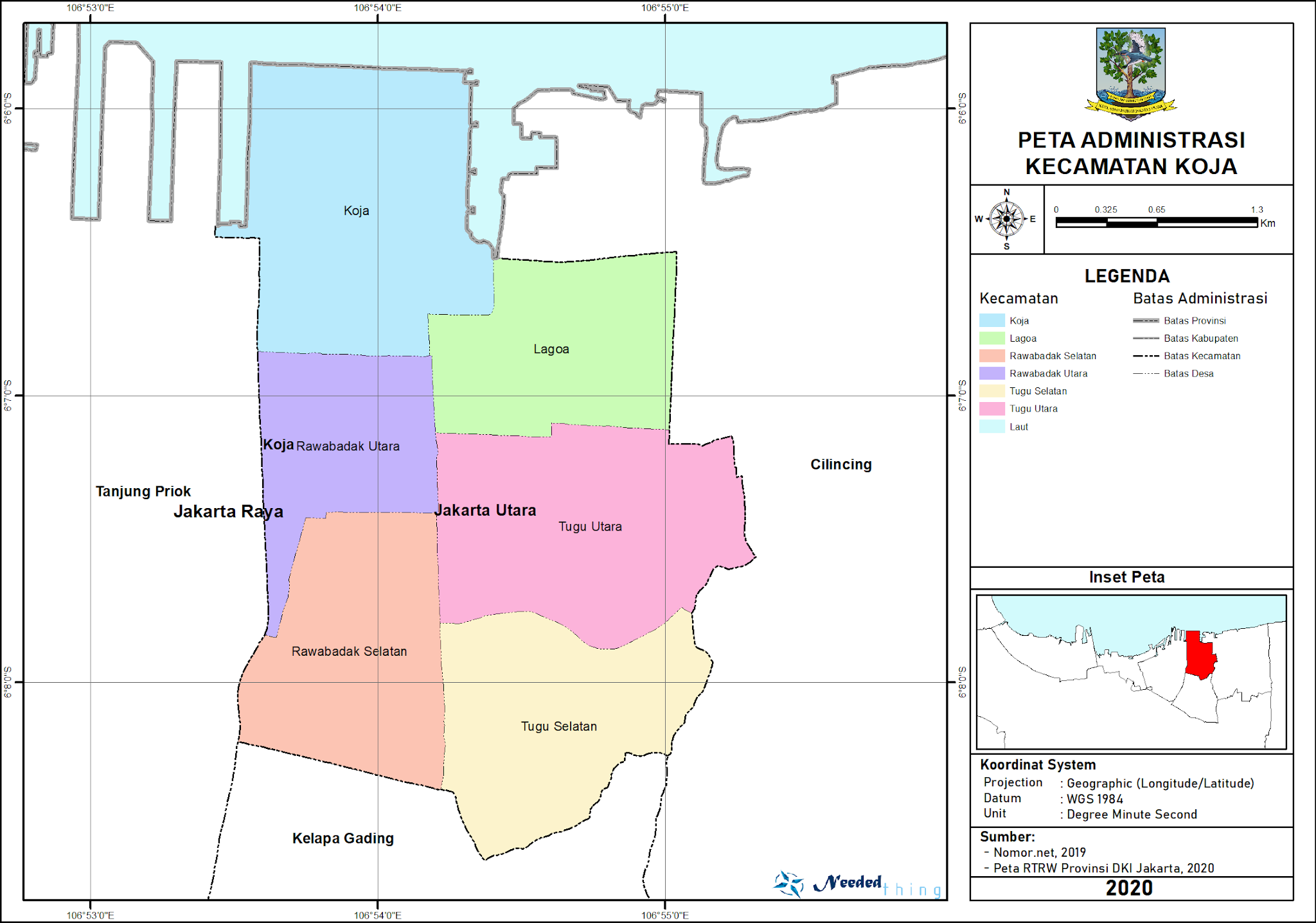 Peta Administrasi Kecamatan Koja, Kota Jakarta Utara ...