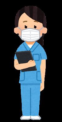 青いスクラブを着た医療従事者のイラスト(女性)