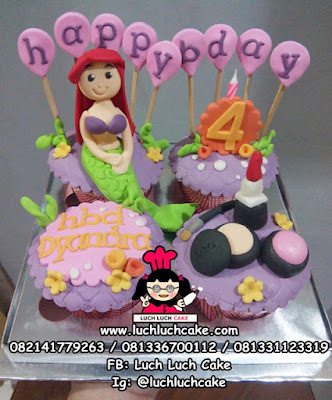 Cupcake Tema Princess Mermaid Ariel