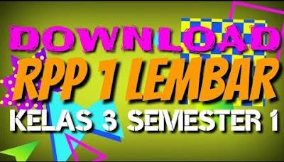 RPP 1 Lembar Kelas 3 Tema 1 semester 1