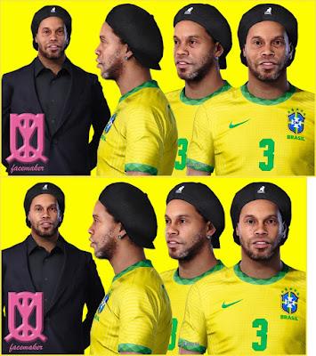 PES 2021 Faces Ronaldinho V1 & V2 by Uqiya