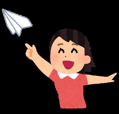 紙飛行機を飛ばす女の子のイラスト