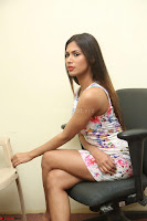 Nishi Ganda stunning cute in Flower Print short dress at Tick Tack Movie Press Meet March 2017 117.JPG