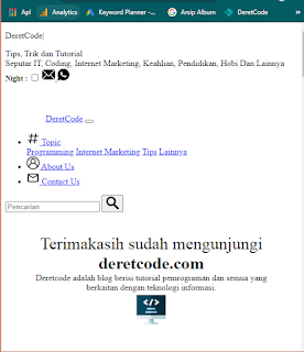 Deretcode tanpa css