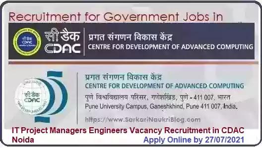 CDAC Noida Manager Engineer Vacancy Recruitment 2021
