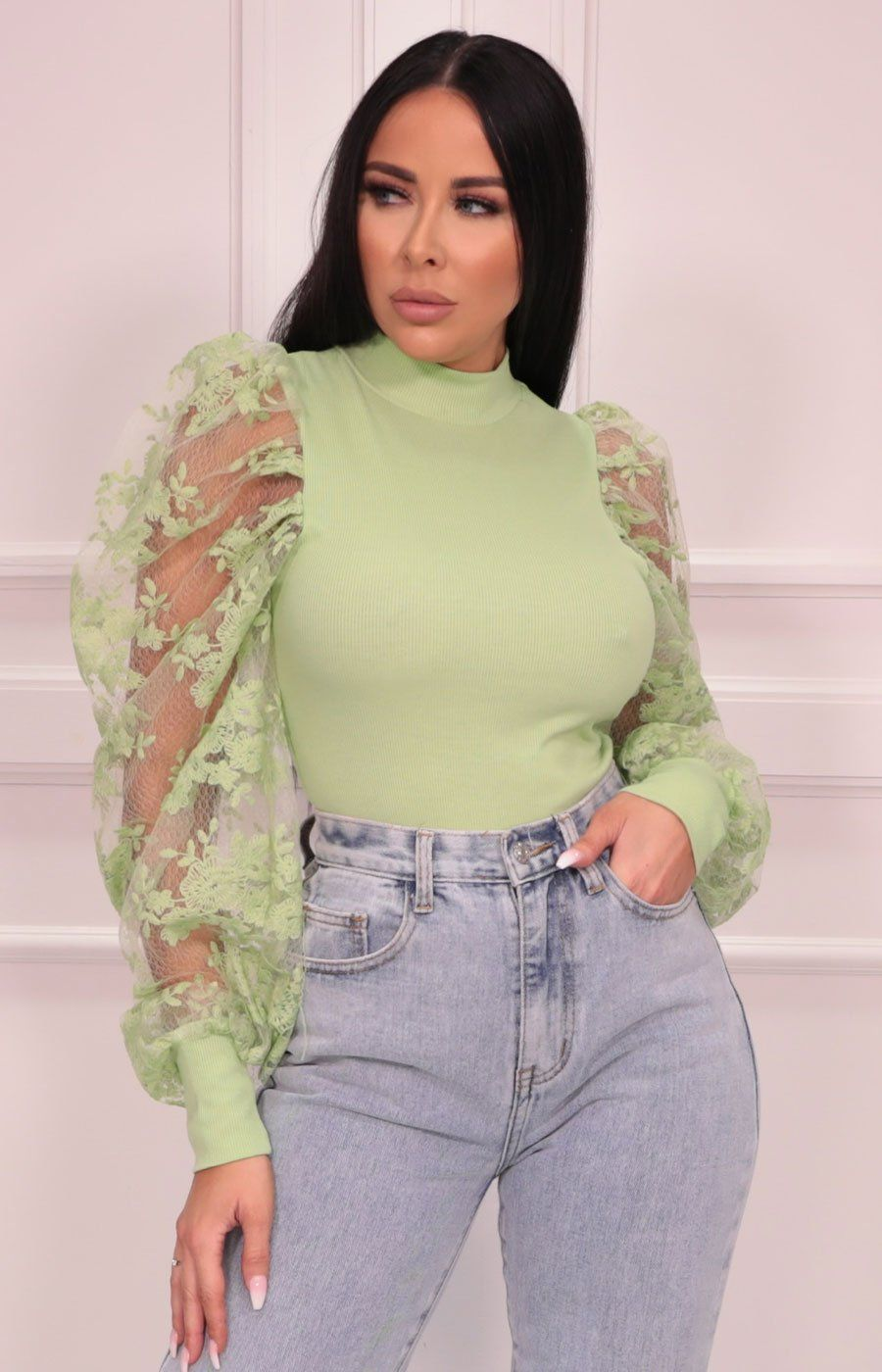 Green Mesh Floral Sleeve Top