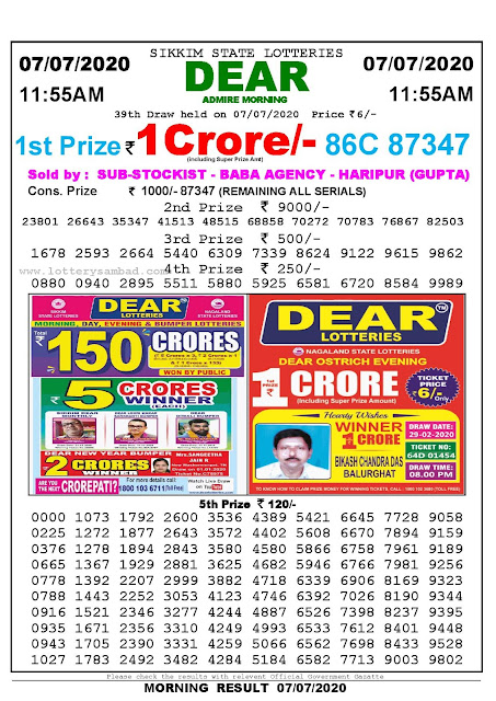 Sikkim State Lotteries 07-07-2020 Lottery Sambad Result 1155 AM