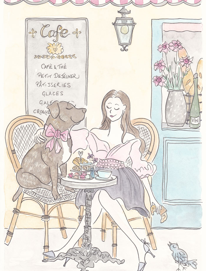 Sookie Dog and Fashion Mum at Paris Cafe  © Shell Sherree all rights reserved
