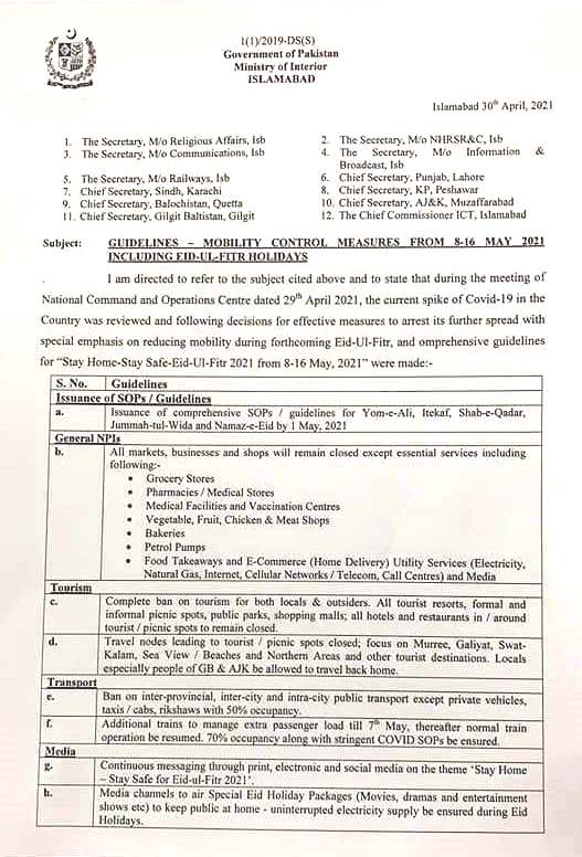 GUIDELINES TO CONTROL MOBILITY FROM 08 TO 16 MAY, 2021