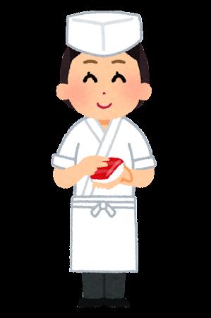 寿司職人のイラスト(女性)