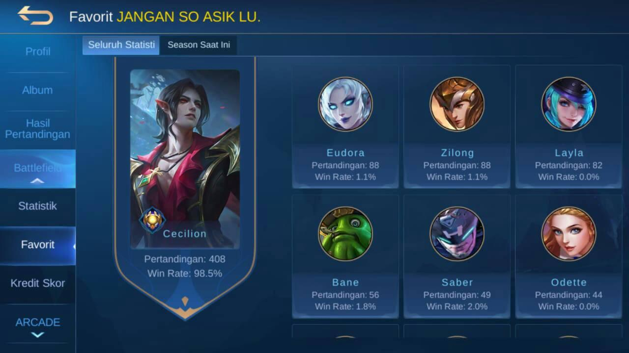 Cheater top global hasil GB Mobile legends