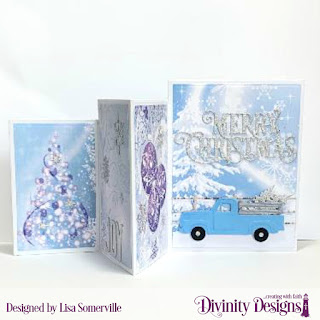 Stamp Set: Christmas Wishes, Custom Dies: Four Panel Card with Layers, Christmas Dove, Merry Christmas Caps, Pickup Truck, Trees & Deer, Curvy Slopes, Farm Fence, Peace & Joy, Paper Collection: Christmas 2019, Rustic Christmas (for Farm Fence)