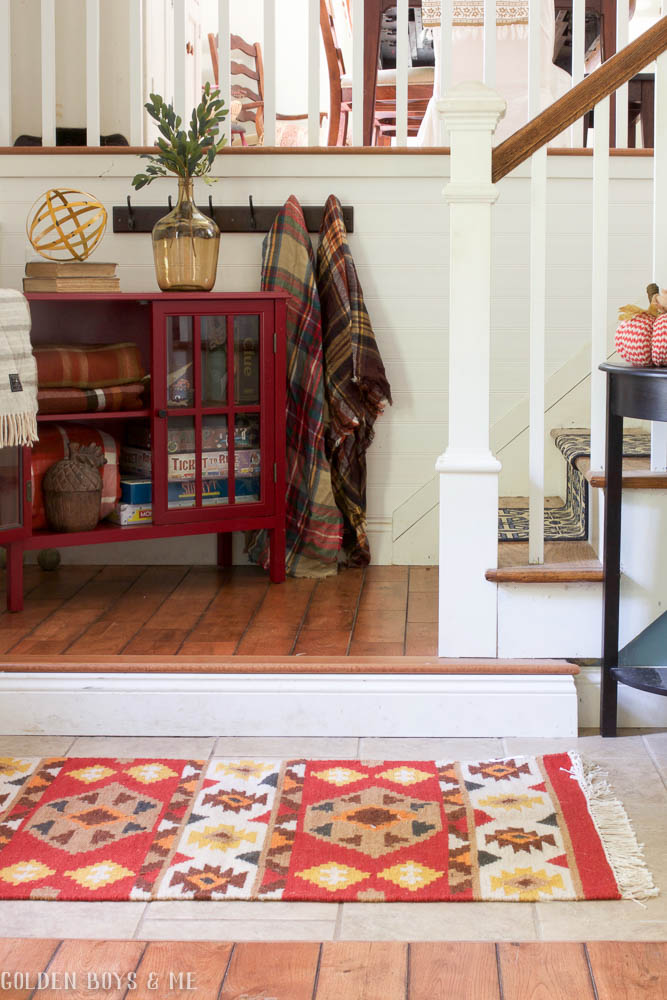Entryway with southwest style throw rug