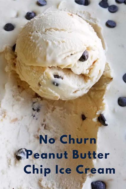 Creamy peanut butter ice cream dotted with chocolate chips. This ice cream pairing is perfect! The best thing is you don't need an ice cream maker to enjoy it. You are just a few simple ingredients away from homemade no churn ice cream.  What are you waiting for? Get some in the freezer now!