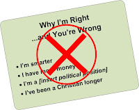 Image of presenter's slide entitled Why I'm Right and You're Wrong listing 4 bulleted reasons but the slide has a big red X indicating that we shouldn't talk this way