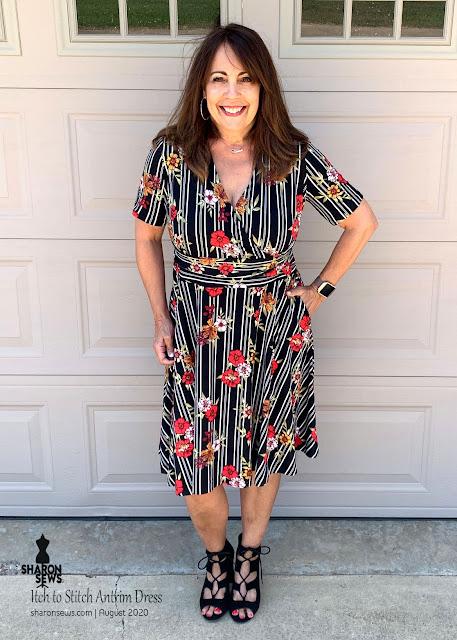 Itch to Stitch Antrim Dress worn by Sharon Sews in a DBL striped knit