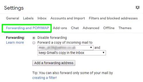 تعطيل إعادة توجيه البريد gmail