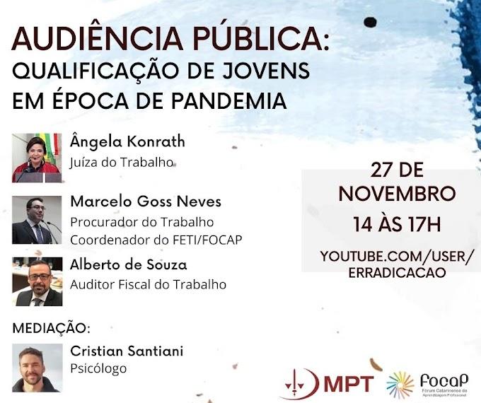 """Audiência Pública: """"Qualificação de Jovens em Época de Pandemia"""""""