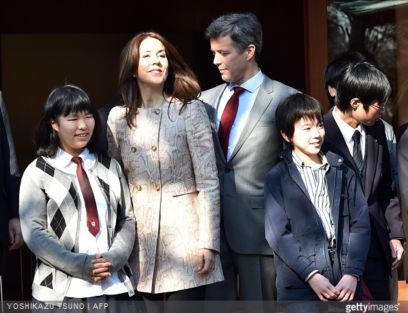 Danish Crown princess Mary and Crown Prince Frederik meet young Japanese students in Tokyo