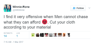 """Stop disturbing ladies you can't afford. Try Work hard and get there first"" Twitter user advises men"