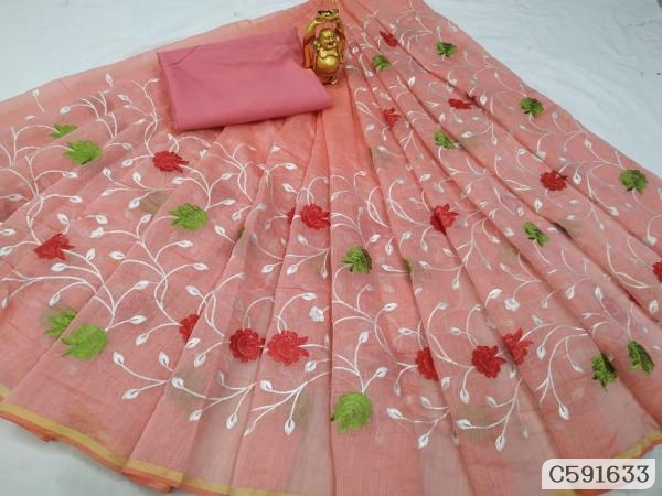 Trendy South Cotton Embroidery Jaal Work Regular Sarees