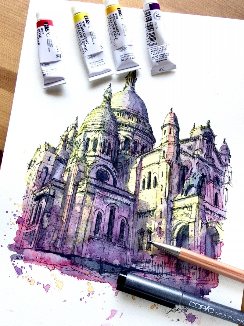09-Sacre-Coeur-Montmartre-Paris-Akihito-Horigome-Travelling-Drawing-and-Painting-www-designstack-co