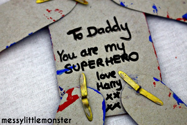 Spiderman activity for fathers day . Toddler or preschooler superhero craft idea.