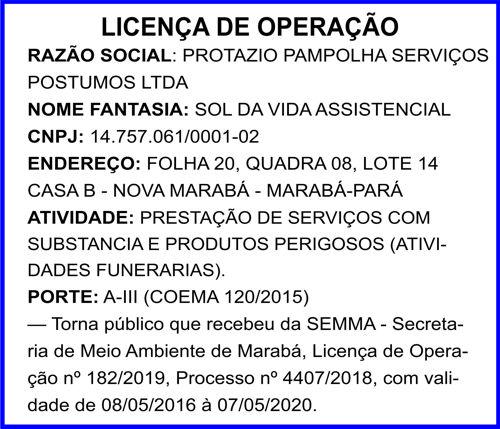 LICEMÇA DE OPERAÇÃO - SOL DA VIDA ASSISTENCIAL -- MARABÁ/PA