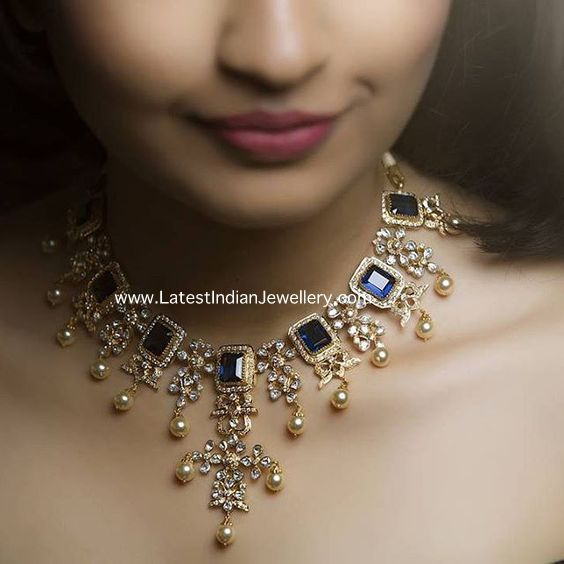 Diamond Necklace with Blue Sapphires