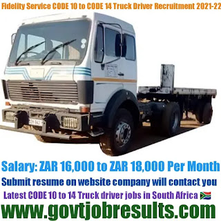 Fidelity Service Code 10 to Code 14 Drivers Recruitment 2021-22