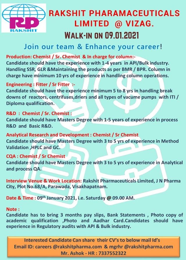 Rakshit Pharmaceuticals | Walk-Ins for Production/Engg/R&D/AR&D/CQA on 9th Jan 2021