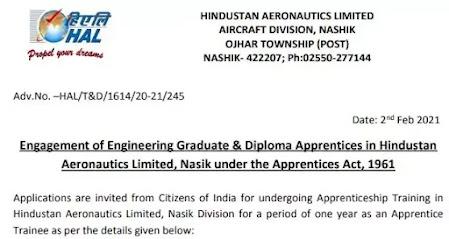 HAL Apprentice - 165 Vacancy for Graduate & Diploma Engineer