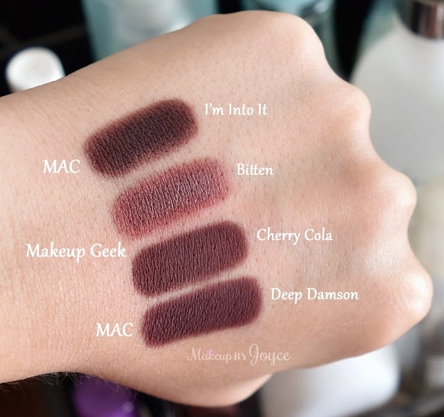 MAC I'm Into It Makeup Geek Bitten Cherry Cola Deep Damson Eyeshadow Swatches
