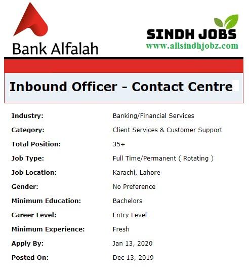 Bank Alfalah Pakistan Jobs 2019 for Inbound Officer - Contact Centre
