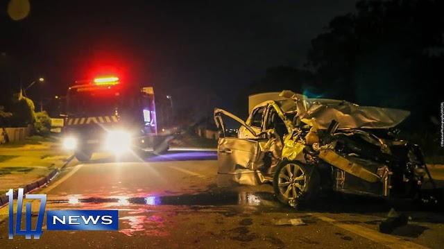 Quatro pessoas ficam feridas após carro perder o controle na Rodovia da Uva em Colombo