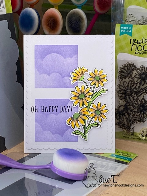 Oh Happy Day by Sue features Dainty Daisies, Floral Roundabout, Slimline Masking Circles and Squares, and Clouds by Newton's Nook Designs; #newtonsnook
