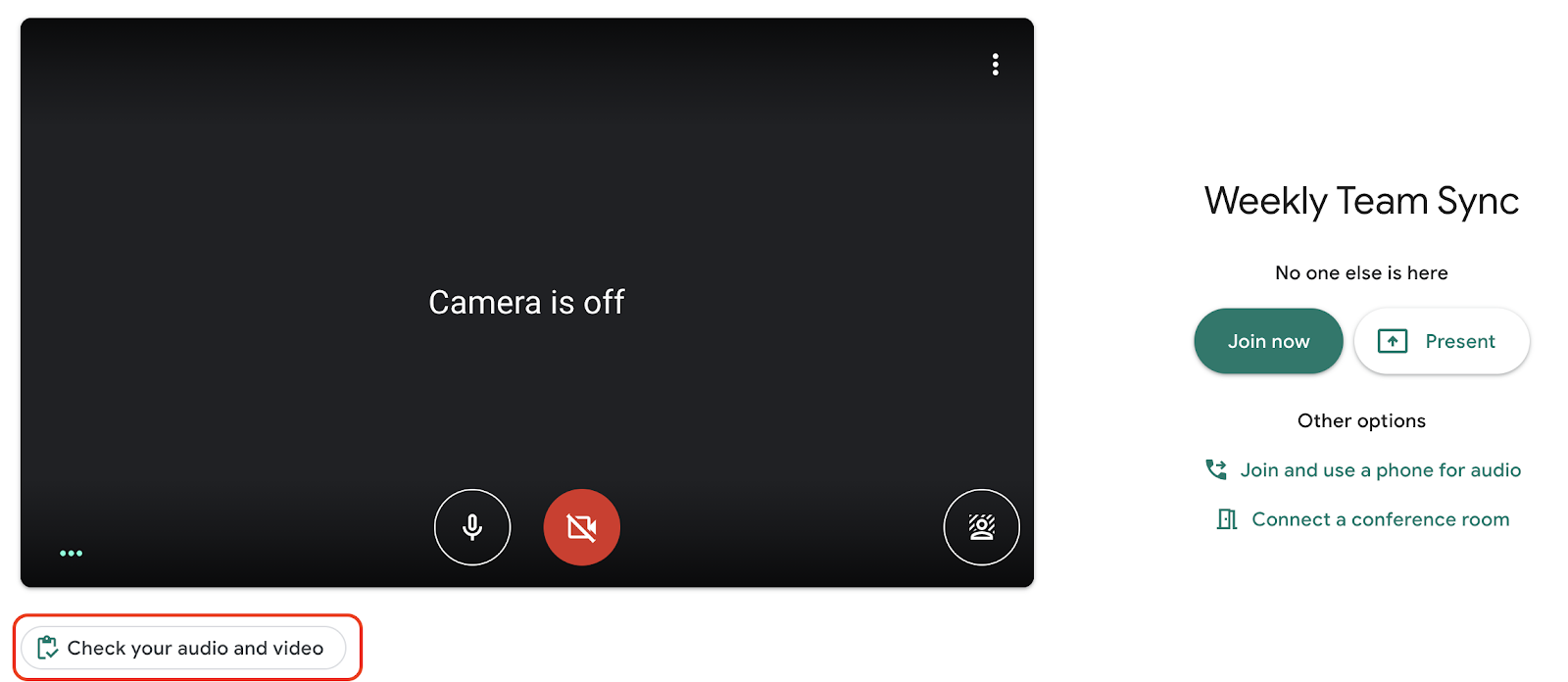 Controlla video, audio e dispositivo prima di una videochiamata con Meet