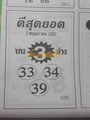 เลขเด่น  3 33  34  39