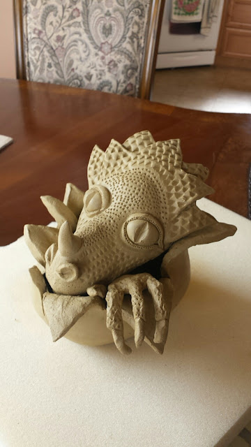 Dragon Hatchling ceramic / clay sculpture by Lily L, in progress.
