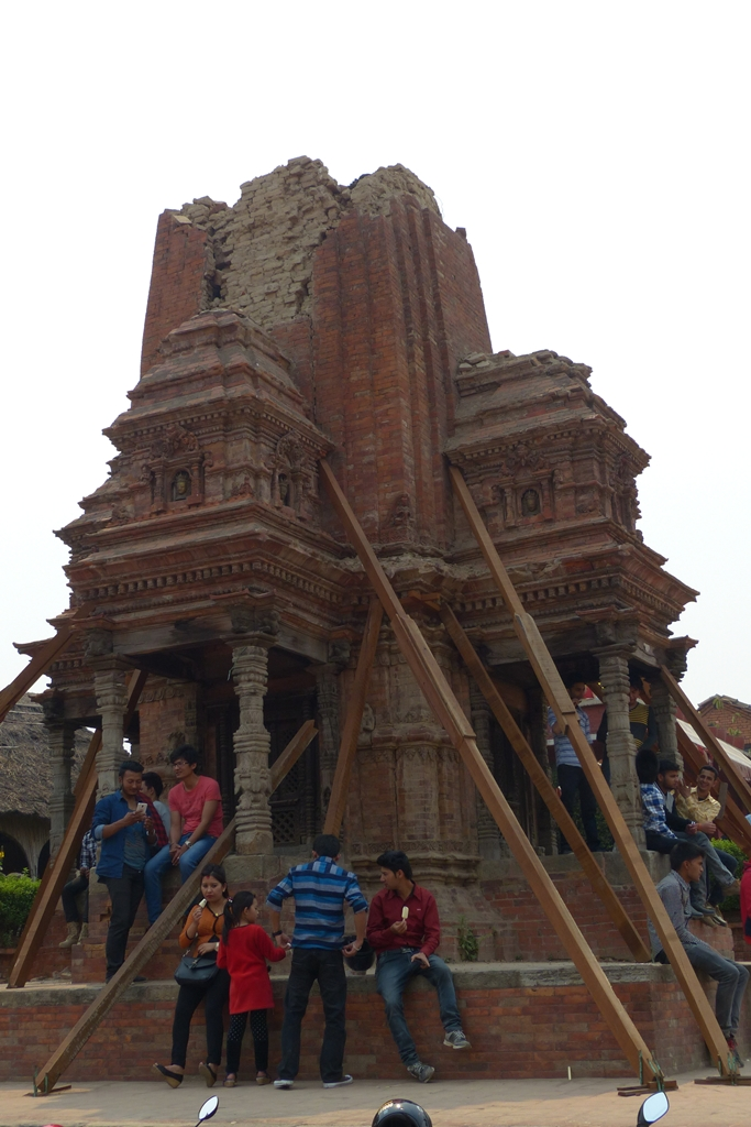 Partly destroyed temple in Bhaktapur, Nepal