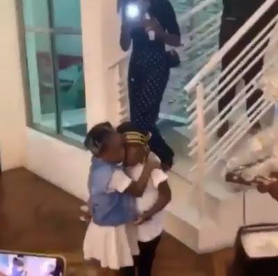 Davido's Daughter, Imade Surprises Tiwa Savage's Son, Jamil On His Birthday (VIDEO)