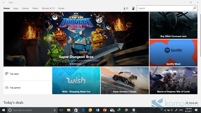 buka windows store untuk download instagram for pc