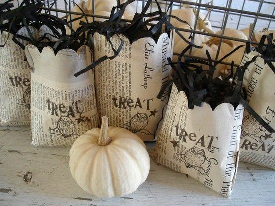Spooky Halloween Book Page Crafts - Vintage Newspaper Treat Bags