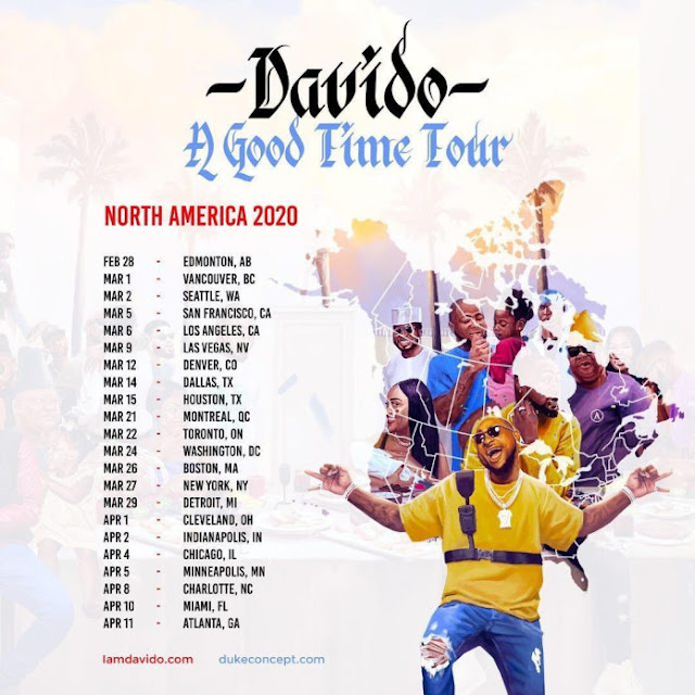 "Davido Announce ""A Good Time"" Tour Of North America In 2020"