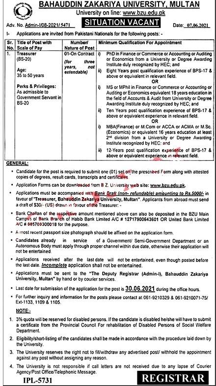 Latest Jobs in Bahauddin Zakariya University Multan BZU June 2021