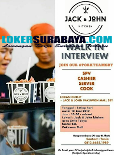 Walk In Interview di Jack & John Kitchen Surabaya Terbaru Juni 2019