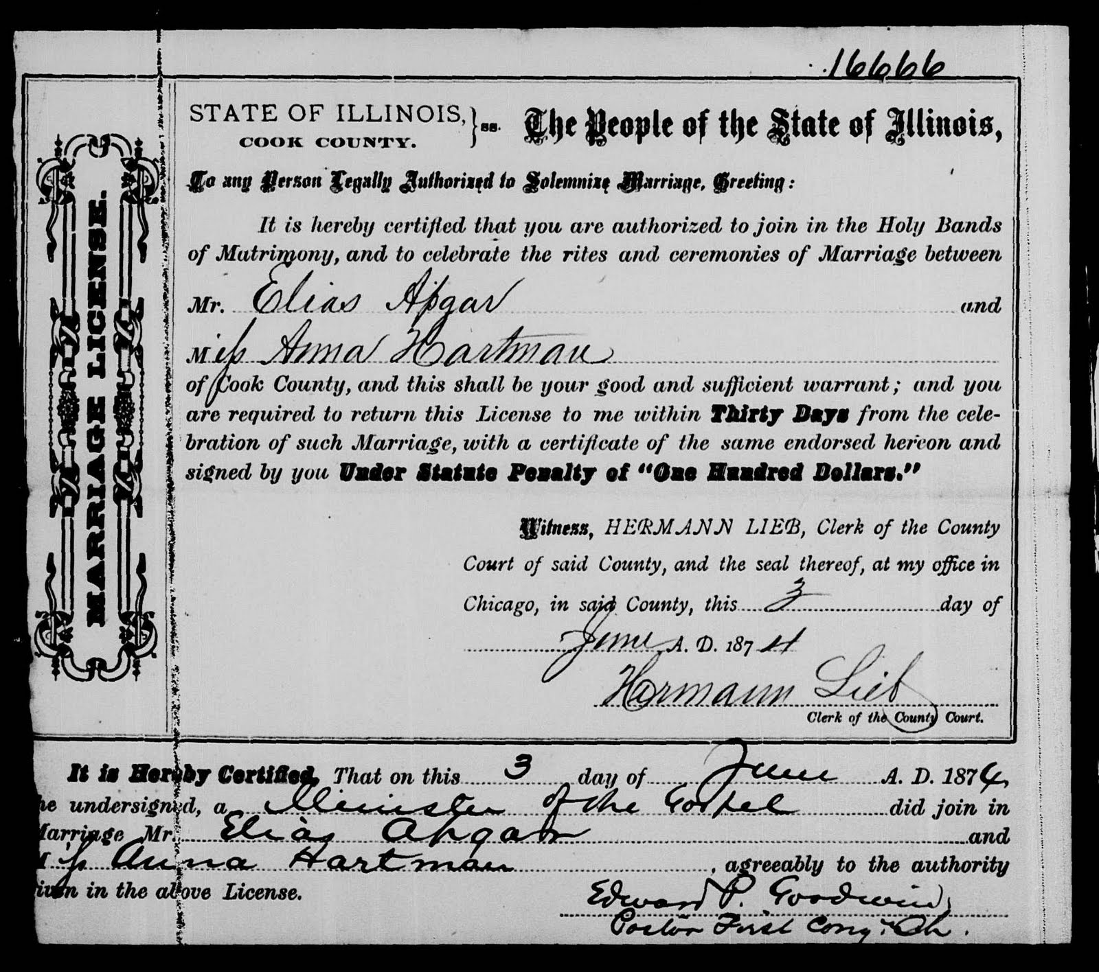 apgar cook county 1874 illinois hartman chicago familysearch elias anna william rootdig frame marriage 1871 database married comes june were